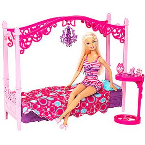 barbie glam bedroom furniture and doll play set