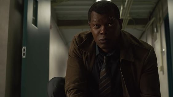 Samuel L. Jackson as de-aged Nick Fury in Captain Marvel