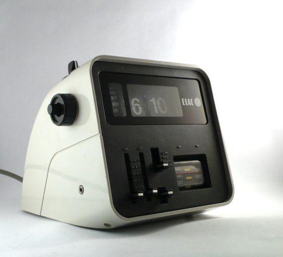 Elac Flip Clock Radio Vintage 1970s Space Age Design