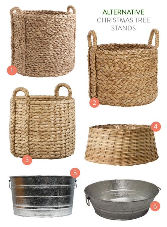 Might need something like this instead of a tree skirt since Baxter might eat a tree skirt. Christmas tree baskets - Alternative Christmas tree stands