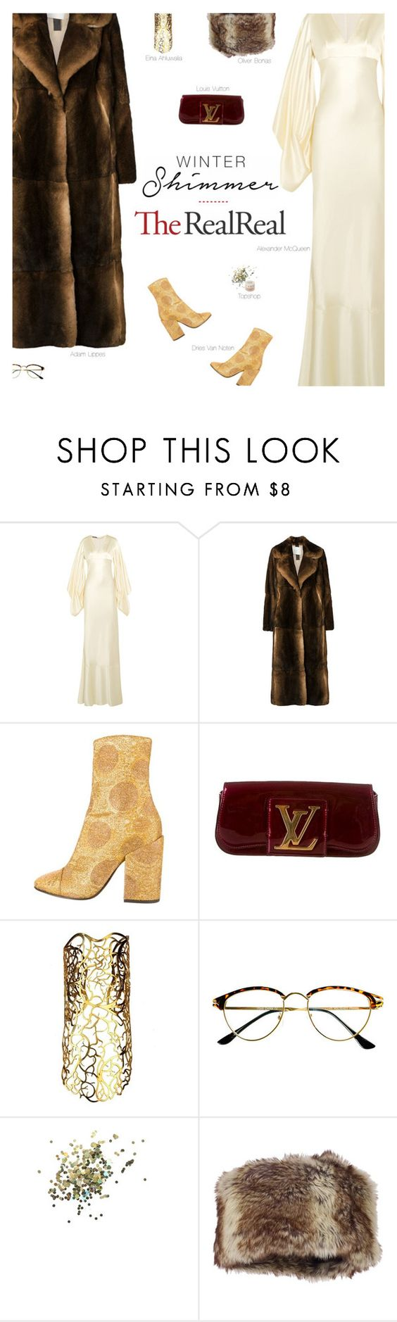 """Holiday Sparkle With The RealReal: Contest Entry"" by amberelb ❤ liked on Polyvore featuring Alexander McQueen, Dries Van Noten, Louis Vuitton, Eina Ahluwalia, Retrò and Topshop"