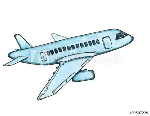 Watercolor Cartoon Sketch Blue Airplane Isolated Cartoon Sketches