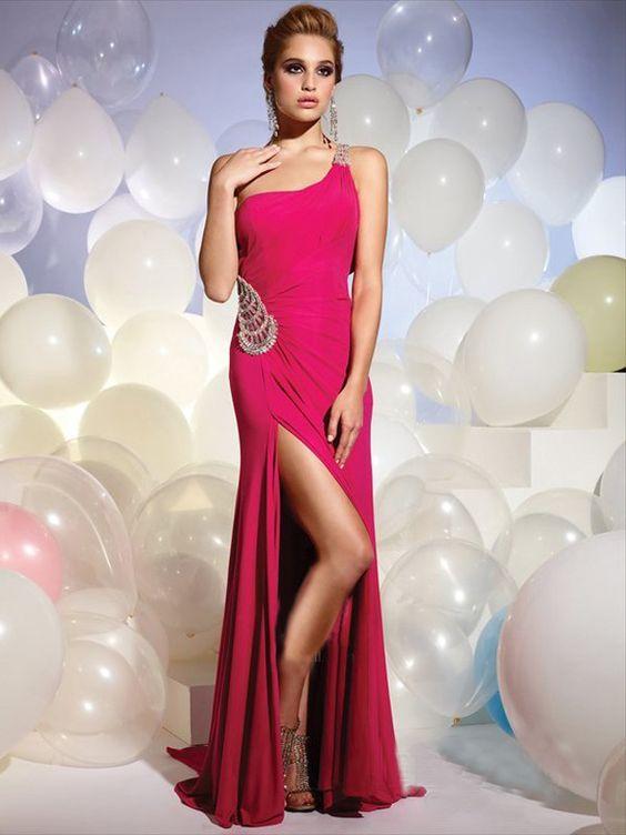 Deep pink column one shoulder jewel decorated strap and waist split front evening dress