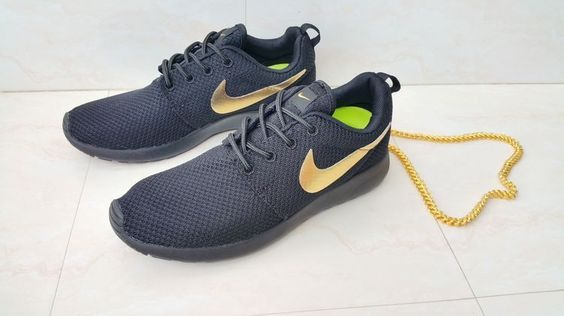 Gold Nike Logo Nike Roshe Run Coal Black Metallic Gold running ...