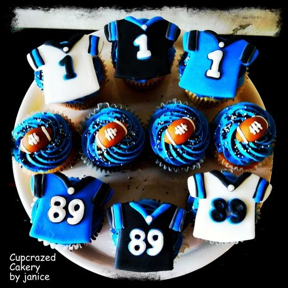 Cam Newton and Steve Smith cupcakes by Cupcrazed Cakery gameday-snacks