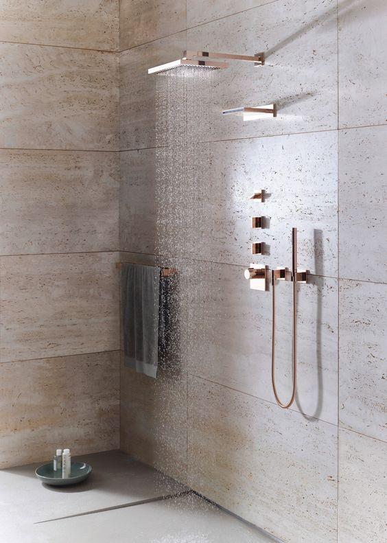 #rosegold #fixtures Love the rose gold fixtures, especially the shower head -Dornbracht, Mem Series.