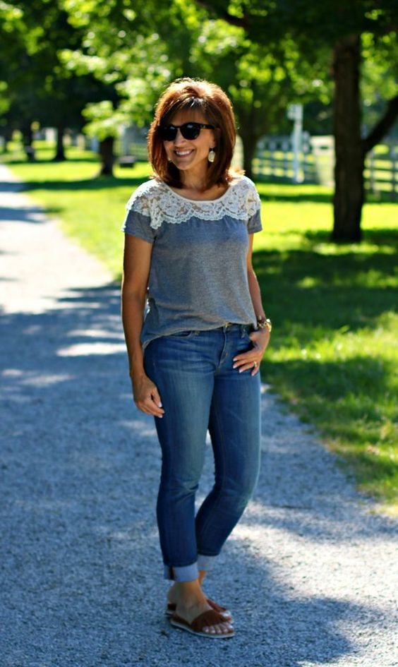 Welcome to summer fashion! Isn't this a cute pairing of jeans and a super lightweight summer sweater? Try to get this style yourself. There are so many ways you can dress this up or down.