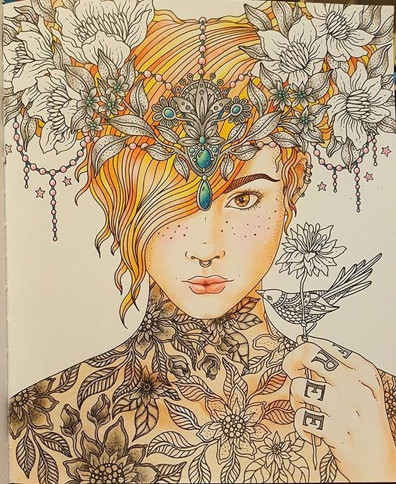 Instagram media mynilebo - Tattoos are hard... #sommarnatt #hannakarlzon #coloringbookforadults #coloringbook #redhead #silverheadpiece #tattoos
