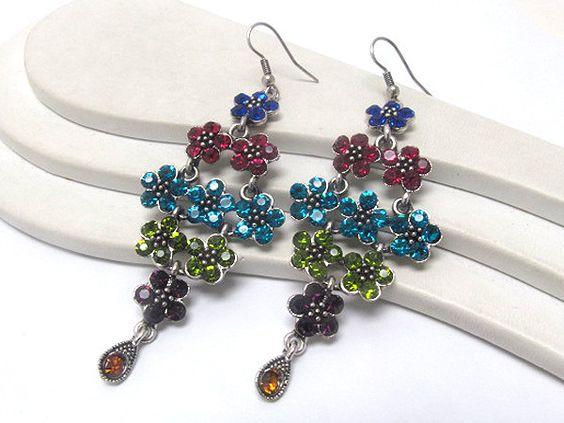 Stunning Multi Crystal Flower Cluster Chandelier Dangle Earrings  $9.00  at Rozeejee