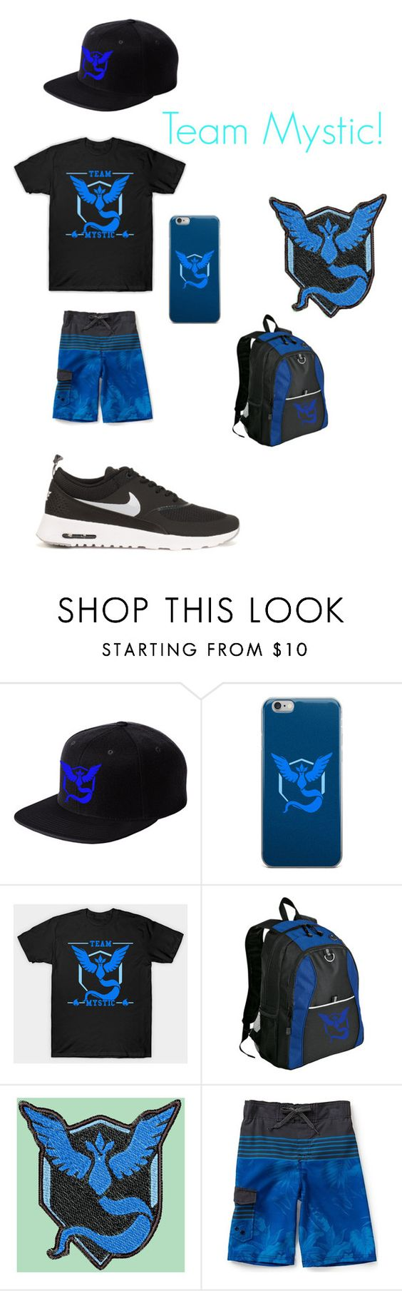 """Team Mystic!"" by oreo-galaxy ❤ liked on Polyvore featuring interior, interiors, interior design, home, home decor, interior decorating, Valor and NIKE"