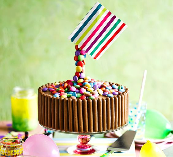 Anti-gravity cakes are this year's must-have trend for birthdays or parties - this stunning Smartie cake will delight kids and grown-ups alike