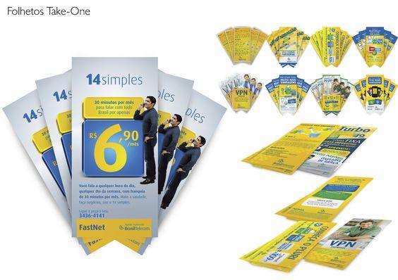 Dezenas de modelos de folders e flyers para a Brasil Telecom e outros clientes em incontáveis formatos.