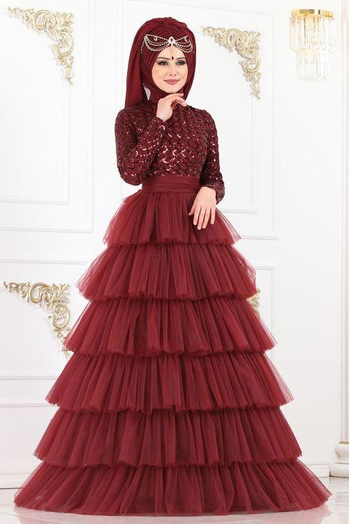 Modaselvim Abiye Kat Katli Pul Payet Abiye Ygs6205 Bordo Balo Elbisesi Elbiseler Elbise