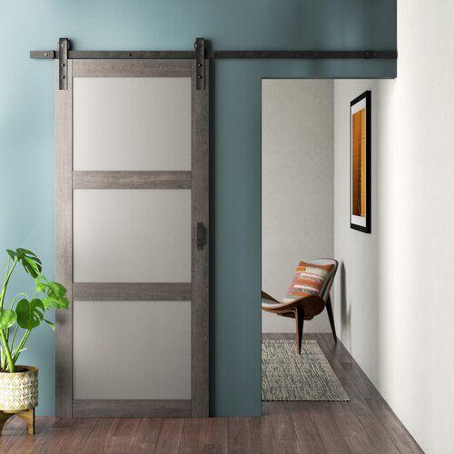 Manufactured Wood And Glass Barn Door With Installation Hardware Kit In 2021 Glass Barn Doors Interior Barn Doors Barn Door