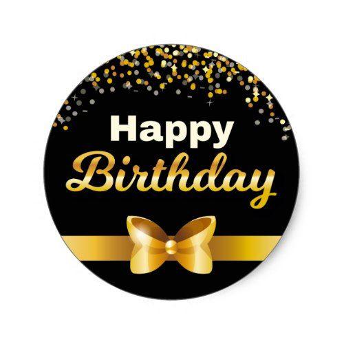 Golden Glitters Happy Birthday Black Background Classic Round