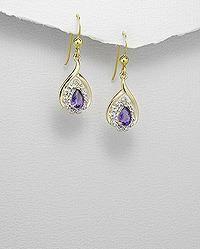 14K GP Amethyst CZ Teardrop Dangle Earrings Sterling silver Free Shipping