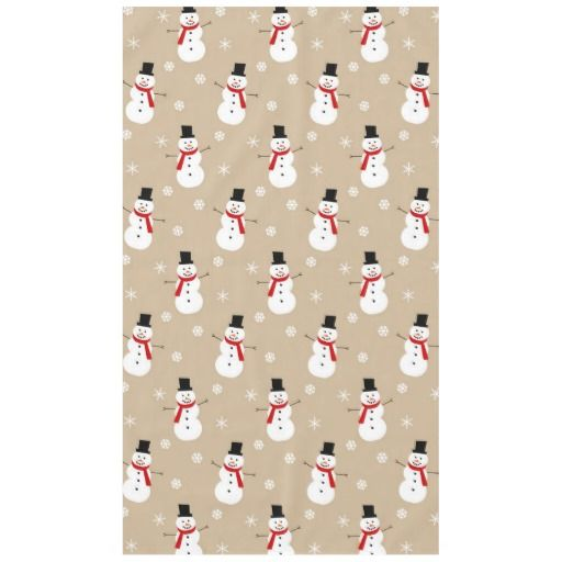 Retro Colorful Festive Christmas Snowman Tablecloth