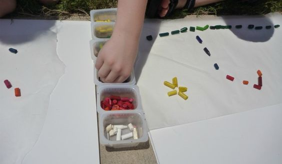 On a hot day use up your broken crayons by letting them melt into artwork in the sun.  Make a picture with the crayons before they melt or play with the melted wax like finger paint between wax paper. This looks really fun for a summer bucket list project!