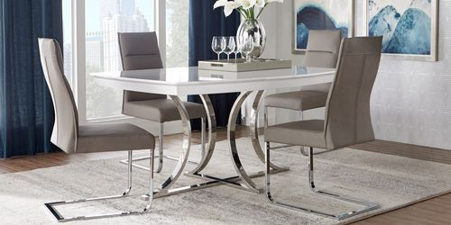 Bay Ridge Champagne 5 Pc Dining Room Rooms To Go Contemporary Dining Room Sets Dining Room Sets Dining Room Chairs Upholstered