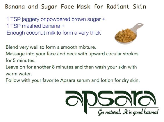 Banana and Sugar Face Mask Recipe! Try this for any dry skin issues!  #dryskin #banana #sugar #facemask #recipe #apsaraskincare
