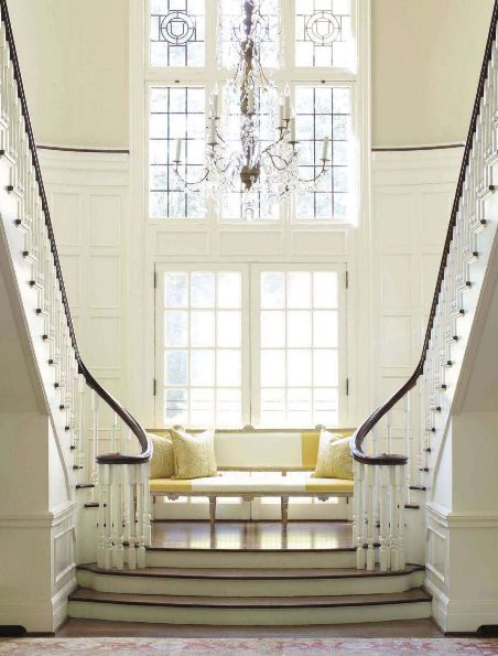 The grand staircase of the Charlotte, NC home in April 2012 edition of Veranda Magazine. Interiors by Jane Schwab of Circa Interiors, Renovation by Meyer Greeson Paullin Benson Architectural & Design Firm