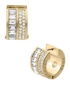 Michael Kors Mkj3149 Clear Crystal Pave Gold Huggie Earrings Michael Kors  http://www