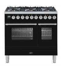 Fornuis 90cm dubbele oven 6 pits zwart gasoven | Boretti