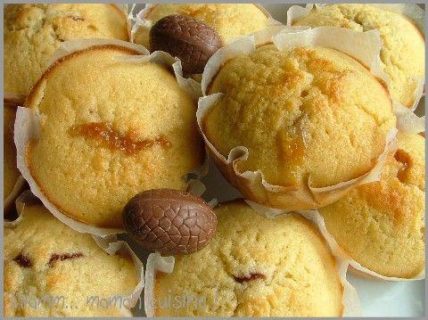 Muffins au coeur de schokobons: -260g de farine -160g de sucre -1 sachet de levure chimique -2 oeufs -1 pincée de sel -50g de beurre -1 schokobon par muffin Mixer le tout (sauf les schokobons), verser dans les moules à muffins, mettre un schokobon sur chaque muffin, et enfoncer délicatement le choco dans le muffin pour qu'il soit recouvert de pâte. 20min à 180°
