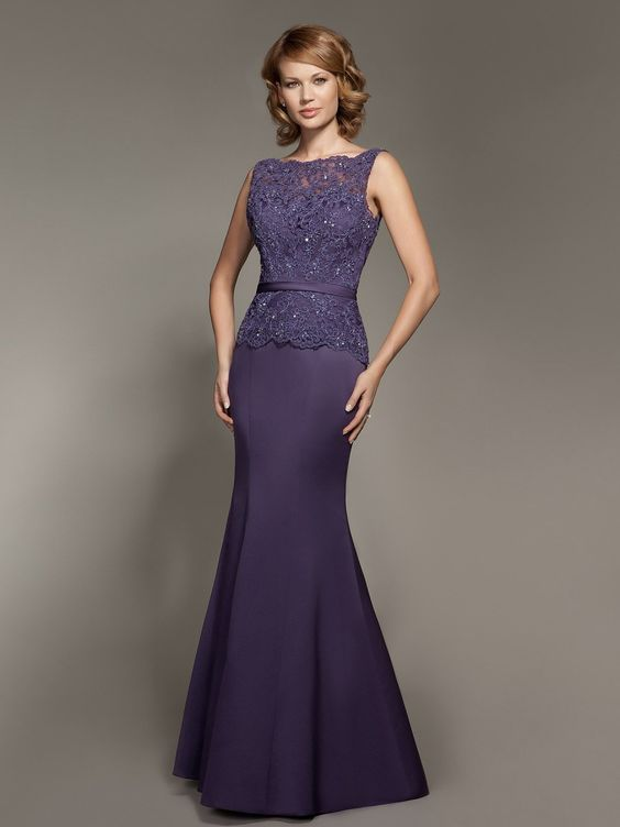 Lace and Satin Dress; Color: Royal Purple; Sizes Available: 2-26W, Custom Size; Fabric: Satin