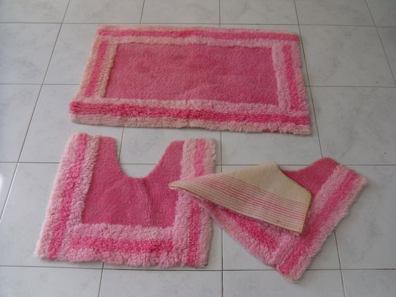 Tappeti per bagno rosa - Tappeti da bagno rosa - Arredo bagno vintage - tappeto antiscivolo- tappeti vintage - tappeto rosa di VintaFai su Etsy