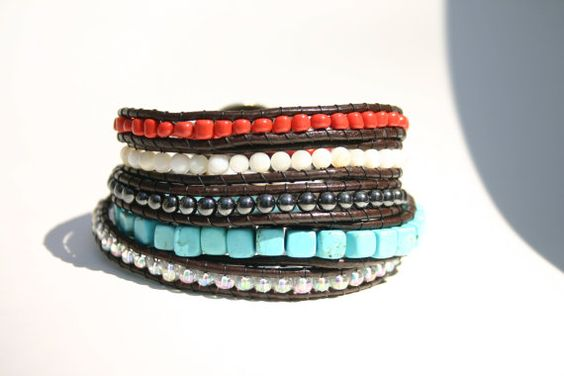 want! Coral Turquoise Leather Wrap Bracelet  by BlueberryBirdDesigns, $45.00