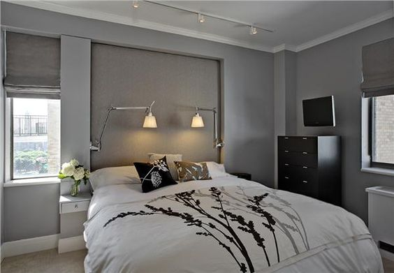 Printed bedding grey room (Contemporary (Modern, Retro) Bedroom by Kati Curtis)