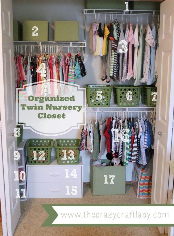 Just a good idea for split room!!organized twin nursery closet - The Crazy Craft Lady: