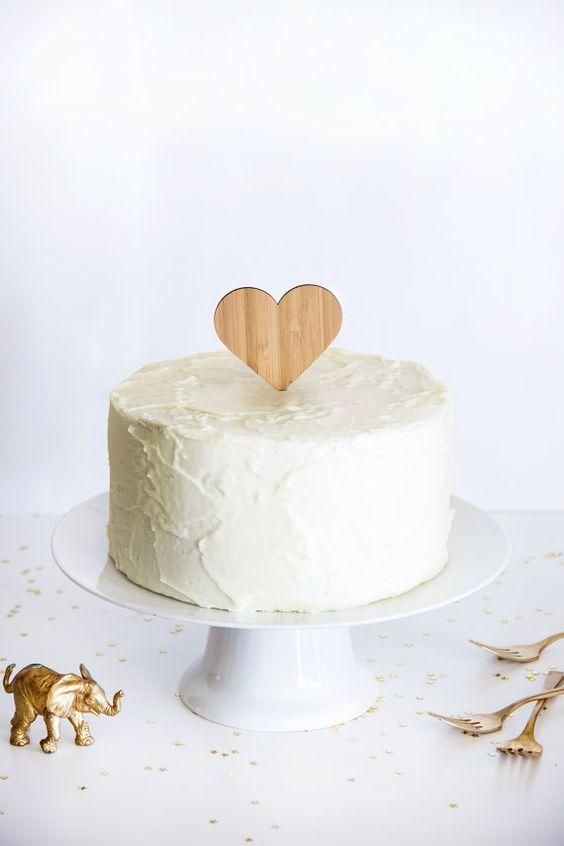 Amber Bamboo Heart Cake Topper