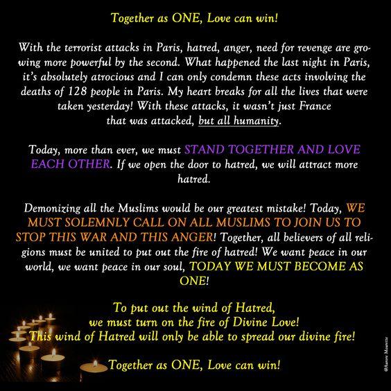 #AttacksParis #PrayForWorld #Pray4Paris To put out the wind of Hatred, we must turn on the fire of Divine Love!