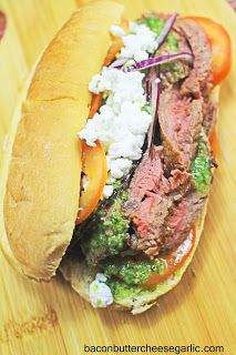 ... ribeye, chimichurri sauce, tomatoes, red onion and goat cheese