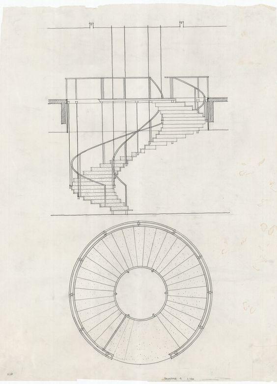 arne jacobsen stairs sas royal hotel 1955 59 drawings. Black Bedroom Furniture Sets. Home Design Ideas