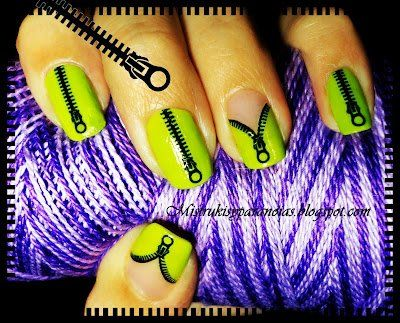 Zipper Nails! What a cool effect. I'm thinking a pretty, deep blue color as the background and maybe a white zipper? ;)