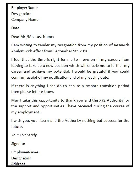 A good resignation letter is an important part of the exit process - good resignation letter