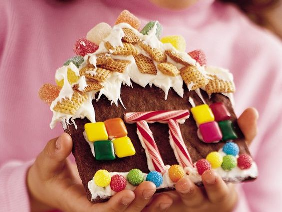 cute... decorating flat gingerbread houses at a party instead of time consuming 3-D houses.then they can eat them!