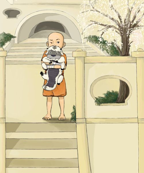 Young Aang and baby Appa The Last Airbender Avatar