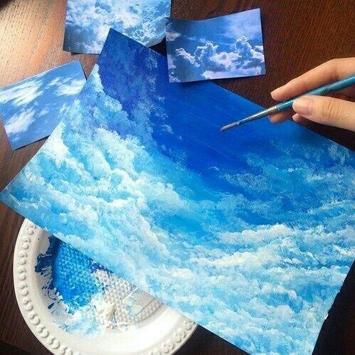 Imagem de art, blue, and sky