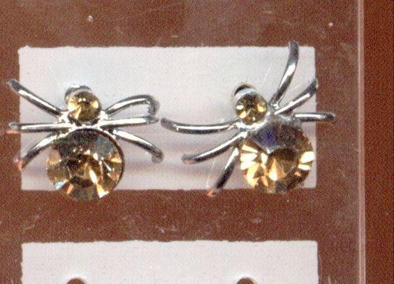 Ohrringe, Ohrstecker - Spider, Spinne mit Strass in gelb - nickelfrei