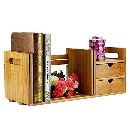 #2 Desk Hutch Brown Expandable Wood Desktop Book Storage Organizer Multipurpose Desk Bookshelf with Drawer fit for Bedroom Dorm Office