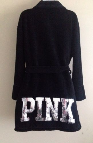"Victoria's Secret PINK Robe ""I Only Sleep in PINK"" Sequin Bling Med/Large NWOT"