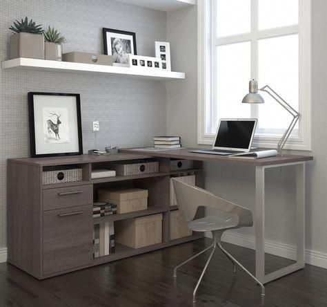 Modern L Shaped Desk With Integrated Storage In Bark Gray Home