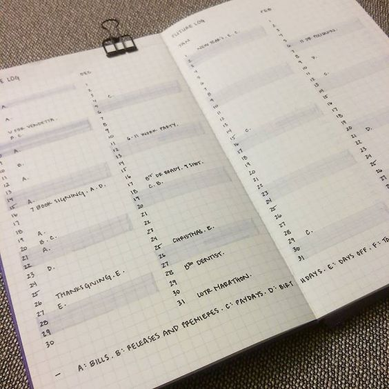 future planning - I used letters (A, B, C, etc) to denote things I can look up in other collections such as bills or movie releases. This will help save space in each date slot. I highlighted weekends for easier scanning. index to collections at bottom.