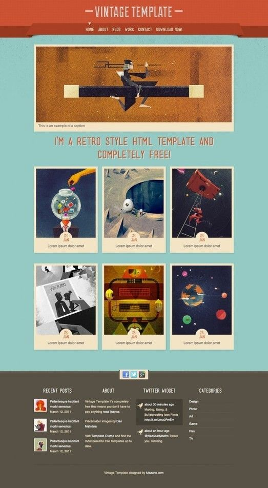 Html5 Templates Modern Website Design Templates Vintage Template Blog Template Web T In 2020 Html5 Templates Free Html Templates Templates