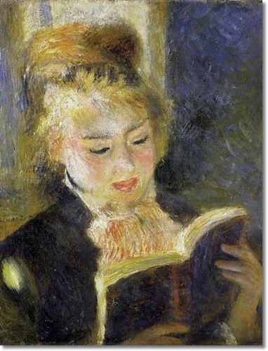 Pierre-Auguste Renoir French Impressionist Painting - Young Woman Reading a Book 1875-1876 Painting: