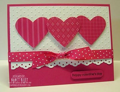 valentine card ... two colors: white and hot pink ... three coordingation paper patterns for three hearts ... simply lovely ...